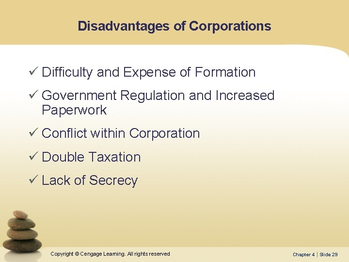 Disadvantages of Corporations ü Difficulty and Expense of Formation ü Government Regulation and Increased