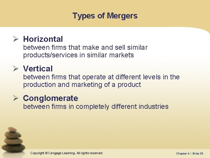 Types of Mergers Ø Horizontal between firms that make and sell similar products/services in
