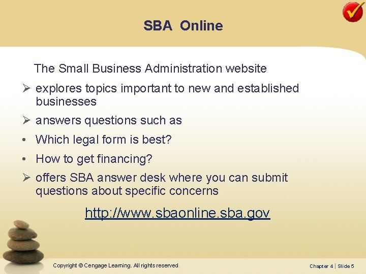 SBA Online The Small Business Administration website Ø explores topics important to new and