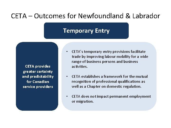CETA – Outcomes for Newfoundland & Labrador Temporary Entry CETA provides greater certainty and