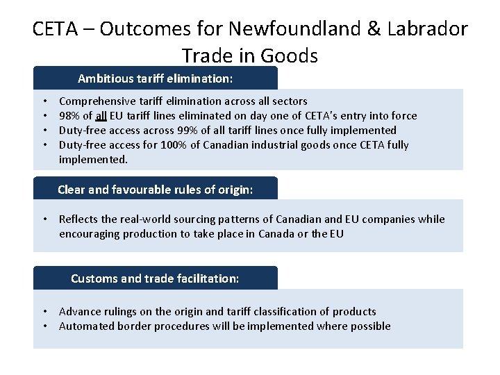 CETA – Outcomes for Newfoundland & Labrador Trade in Goods Ambitious tariff elimination: •