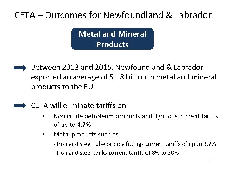 CETA – Outcomes for Newfoundland & Labrador Metal and Mineral Products Between 2013 and