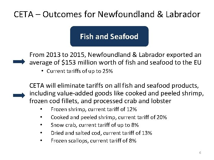 CETA – Outcomes for Newfoundland & Labrador Fish and Seafood From 2013 to 2015,