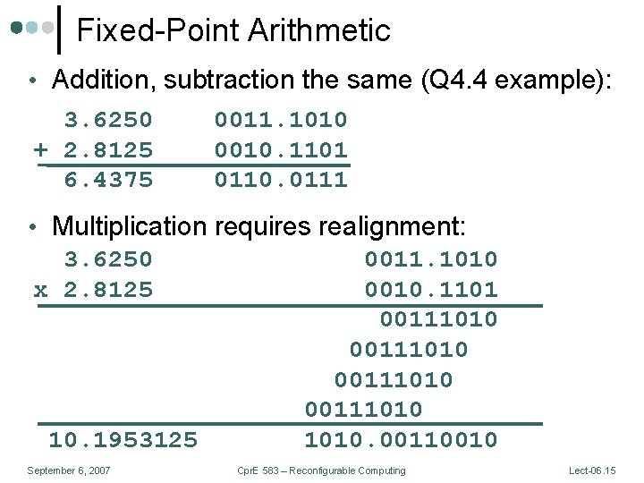 Fixed-Point Arithmetic • Addition, subtraction the same (Q 4. 4 example): 3. 6250 +