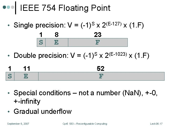 IEEE 754 Floating Point • Single precision: V = (-1)S x 2(E-127) x (1.
