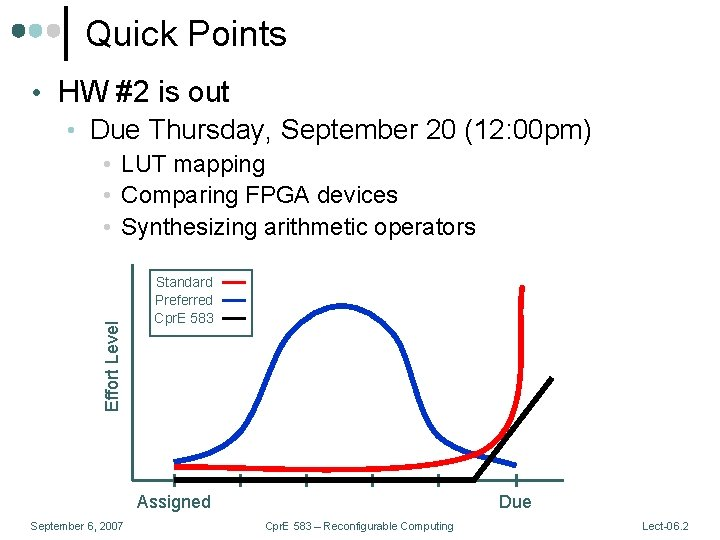 Quick Points • HW #2 is out • Due Thursday, September 20 (12: 00