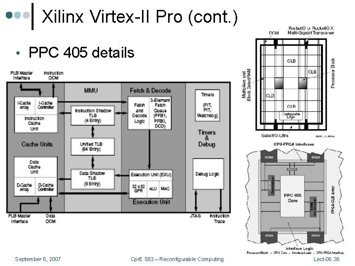 Xilinx Virtex-II Pro (cont. ) • PPC 405 details September 6, 2007 Cpr. E