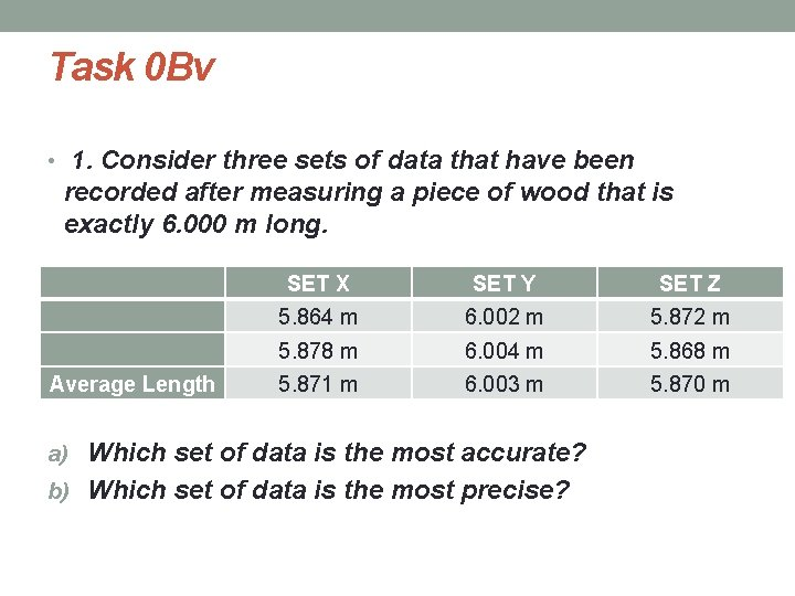 Task 0 Bv • 1. Consider three sets of data that have been recorded