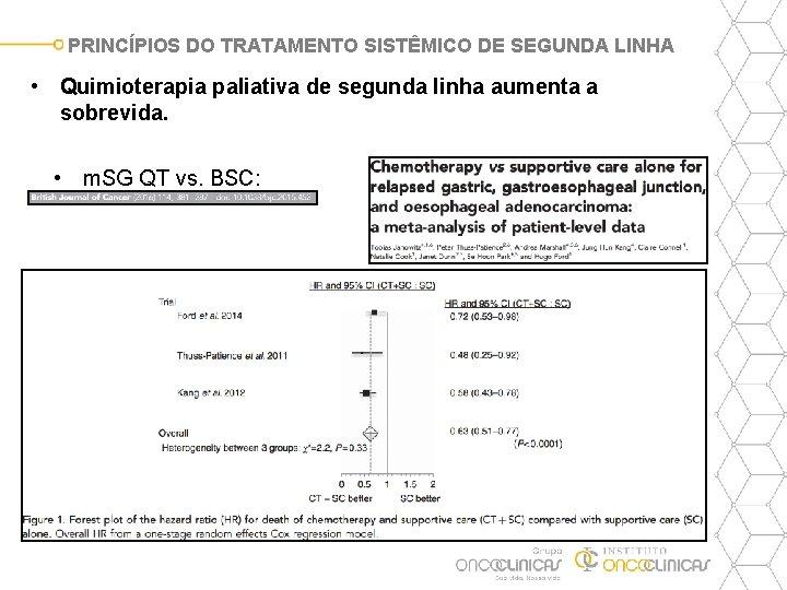 PRINCÍPIOS DO TRATAMENTO SISTÊMICO DE SEGUNDA LINHA • Quimioterapia paliativa de segunda linha aumenta