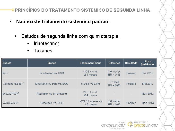 PRINCÍPIOS DO TRATAMENTO SISTÊMICO DE SEGUNDA LINHA • Não existe tratamento sistêmico padrão. •