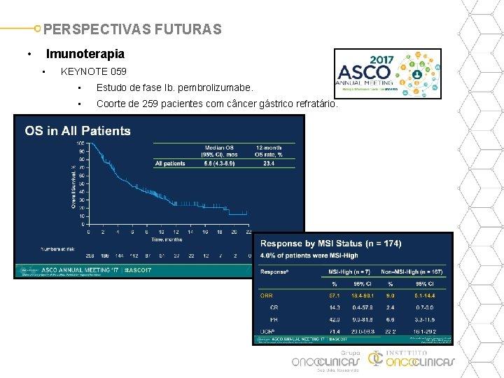 PERSPECTIVAS FUTURAS • Imunoterapia • KEYNOTE 059 • Estudo de fase Ib. pembrolizumabe. •