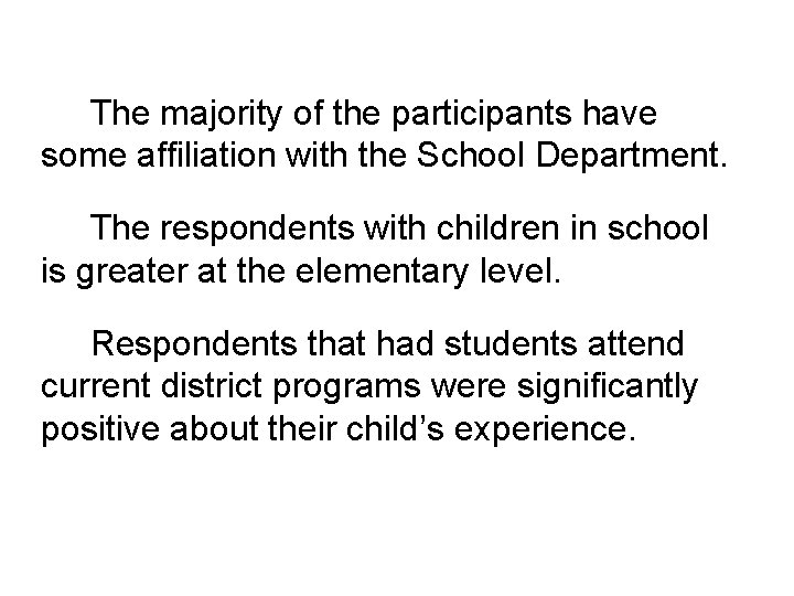 The majority of the participants have some affiliation with the School Department. The respondents