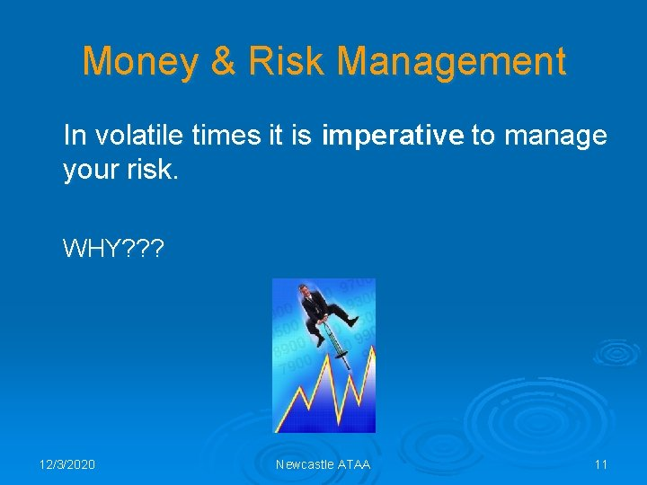 Money & Risk Management In volatile times it is imperative to manage your risk.