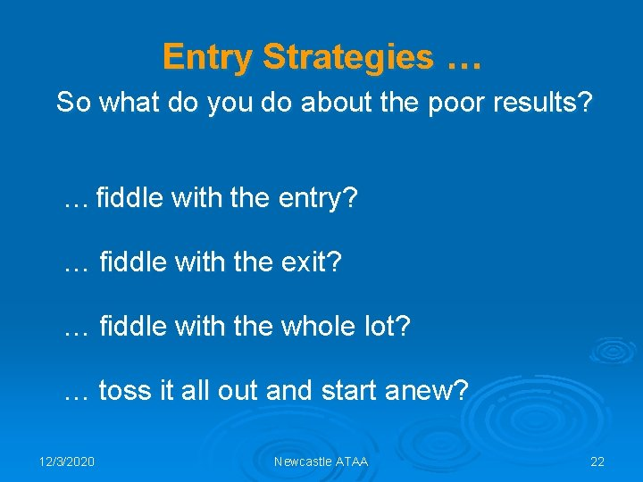 Entry Strategies … So what do you do about the poor results? … fiddle