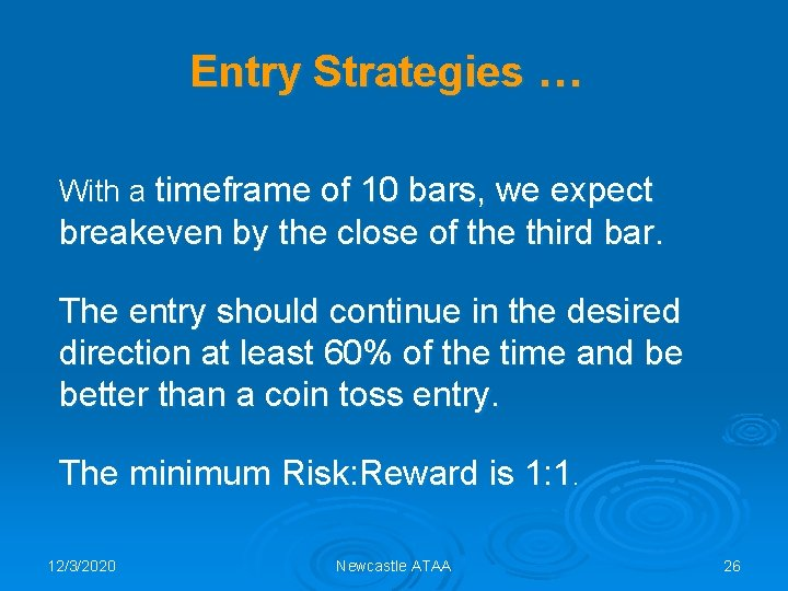 Entry Strategies … With a timeframe of 10 bars, we expect breakeven by the