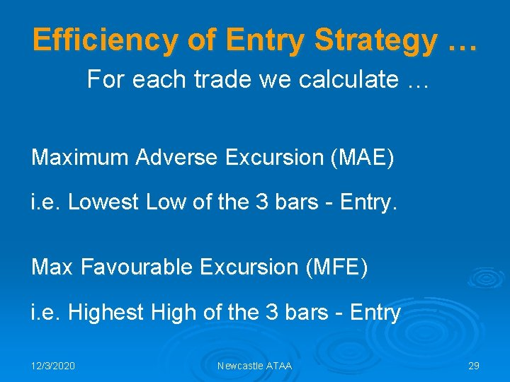 Efficiency of Entry Strategy … For each trade we calculate … Maximum Adverse Excursion