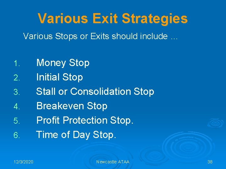 Various Exit Strategies Various Stops or Exits should include … 1. 2. 3. 4.