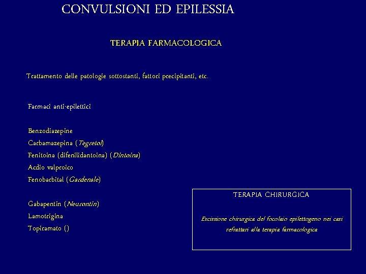 CONVULSIONI ED EPILESSIA TERAPIA FARMACOLOGICA Trattamento delle patologie sottostanti, fattori precipitanti, etc. Farmaci anti-epilettici