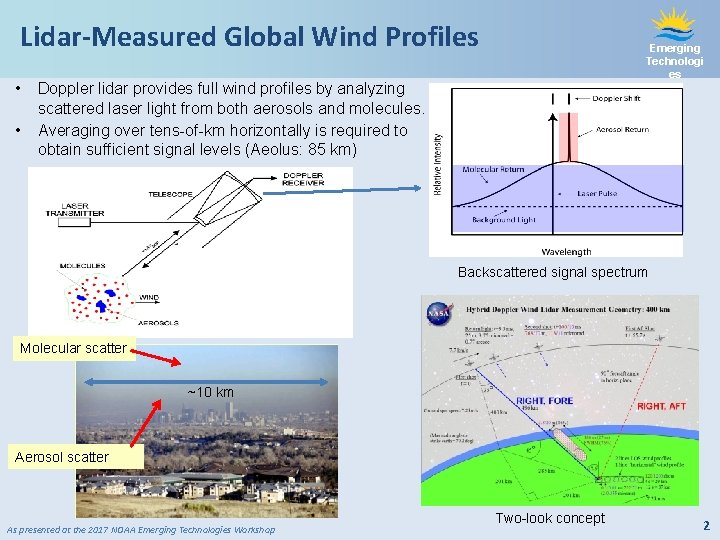 Lidar-Measured Global Wind Profiles • • Emerging Technologi es Doppler lidar provides full wind