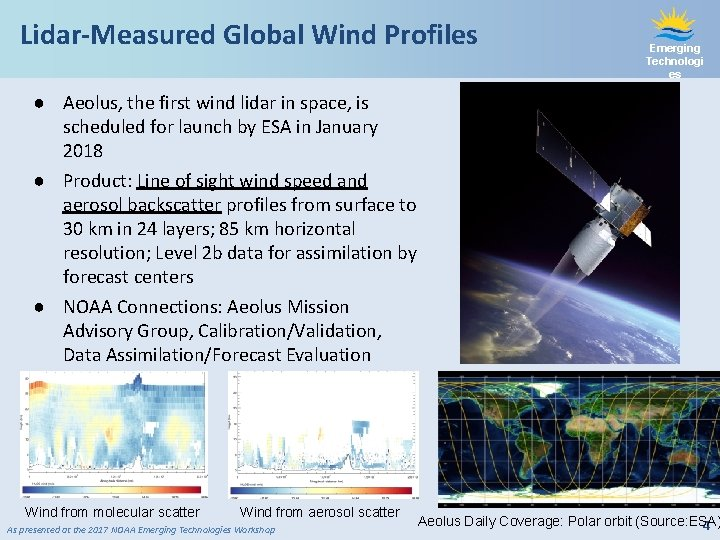 Lidar-Measured Global Wind Profiles Emerging Technologi es ● Aeolus, the first wind lidar in