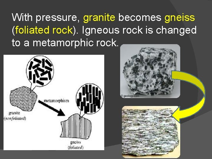 With pressure, granite becomes gneiss (foliated rock). Igneous rock is changed to a metamorphic