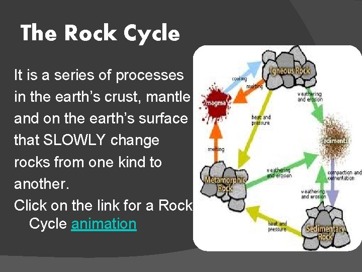 The Rock Cycle It is a series of processes in the earth's crust, mantle