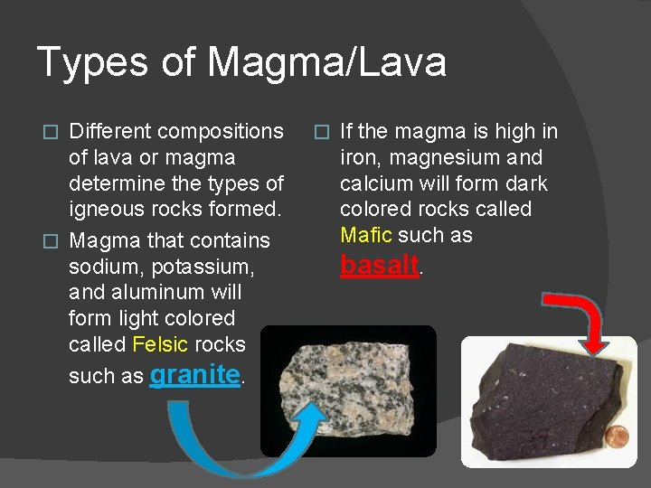 Types of Magma/Lava Different compositions of lava or magma determine the types of igneous