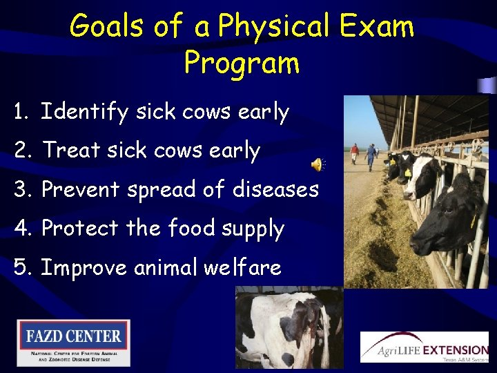 Goals of a Physical Exam Program 1. Identify sick cows early 2. Treat sick