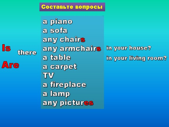 Составьте вопросы a piano a sofa any chairs Is there any armchairs a table