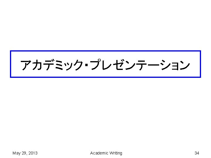 アカデミック・プレゼンテーション May 29, 2013 Academic Writing 34