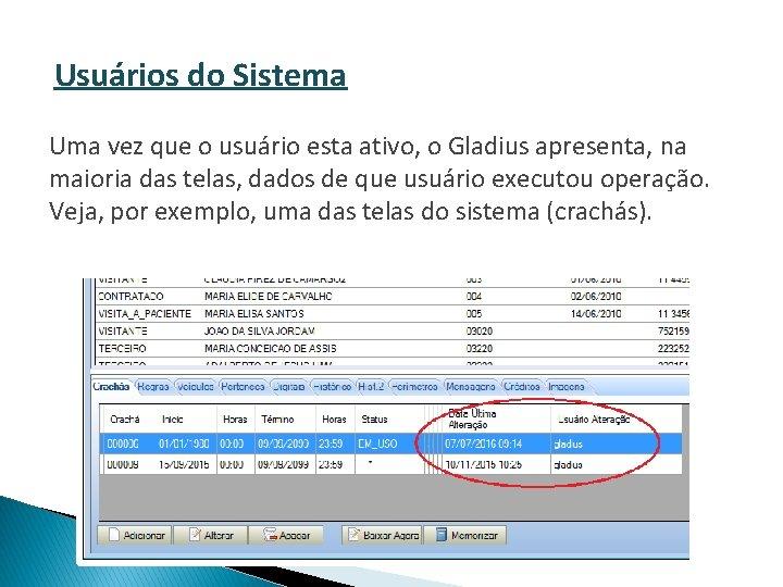 Usuários do Sistema Uma vez que o usuário esta ativo, o Gladius apresenta, na