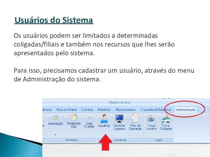 Usuários do Sistema Os usuários podem ser limitados a determinadas coligadas/filiais e também nos