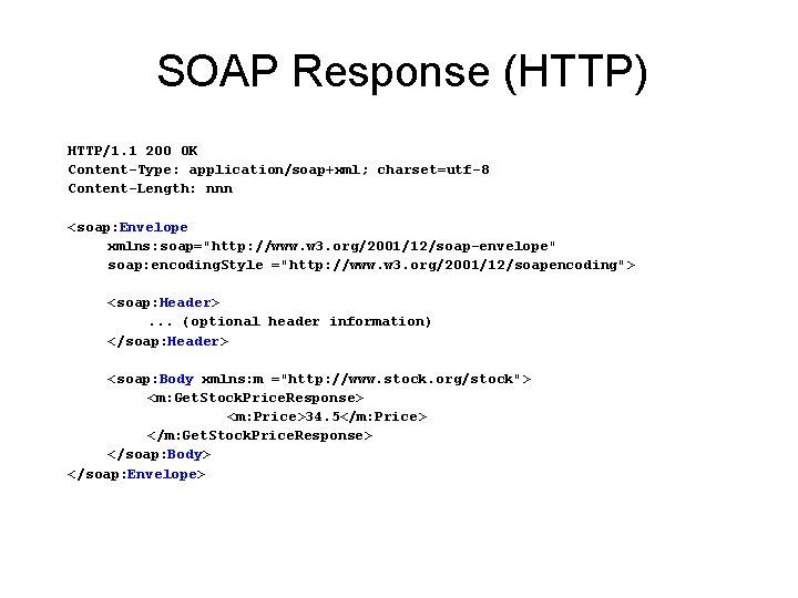SOAP Response (HTTP) HTTP/1. 1 200 OK Content-Type: application/soap+xml; charset=utf-8 Content-Length: nnn <soap: Envelope