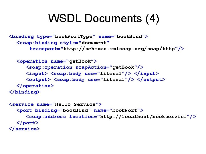 """WSDL Documents (4) <binding type=""""book. Port. Type"""" name=""""book. Bind""""> <soap: binding style=""""document"""" transport=""""http: //schemas."""