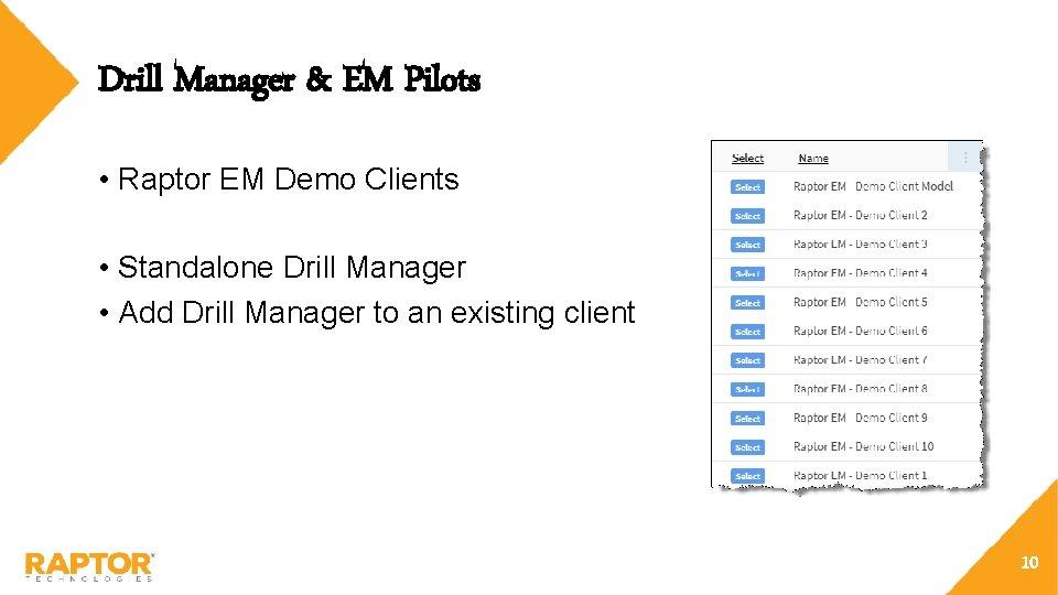 Drill Manager & EM Pilots • Raptor EM Demo Clients • Standalone Drill Manager