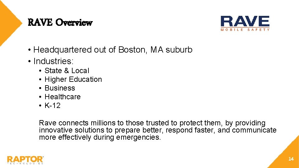 RAVE Overview • Headquartered out of Boston, MA suburb • Industries: • • •