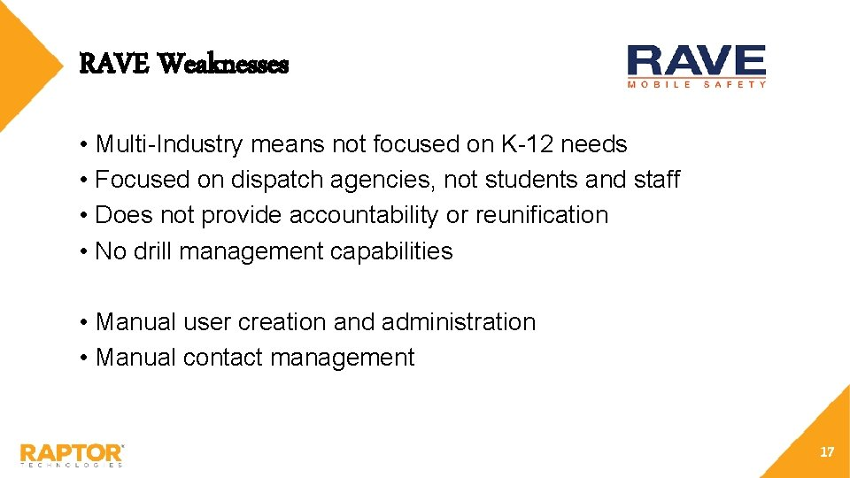 RAVE Weaknesses • Multi-Industry means not focused on K-12 needs • Focused on dispatch