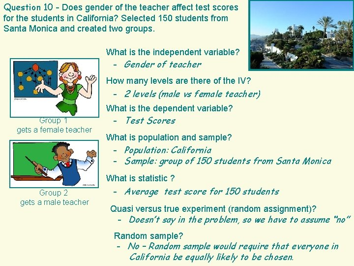 Question 10 - Does gender of the teacher affect test scores for the students