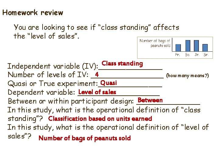 """Homework review You are looking to see if """"class standing"""" affects the """"level of"""