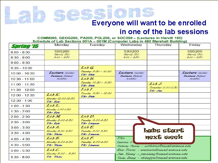 Everyone will want to be enrolled in one of the lab sessions Labs start