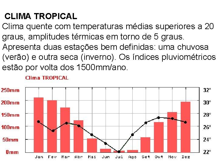 CLIMA TROPICAL Clima quente com temperaturas médias superiores a 20 graus, amplitudes térmicas em