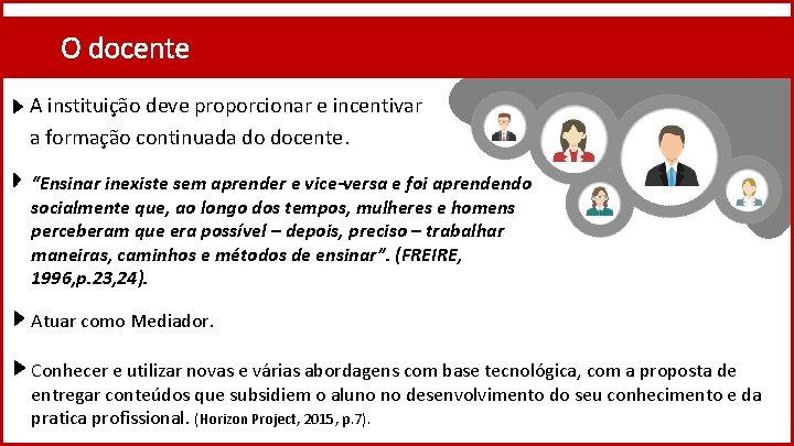 """O docente A instituição deve proporcionar e incentivar a formação continuada do docente. """"Ensinar"""