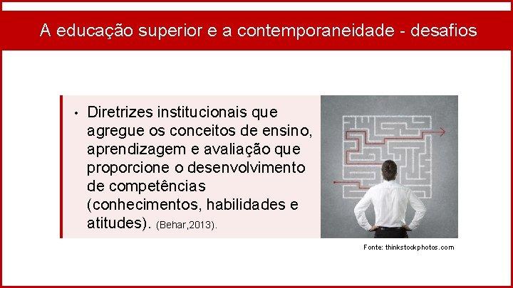 A educação superior e a contemporaneidade - desafios • Diretrizes institucionais que agregue os