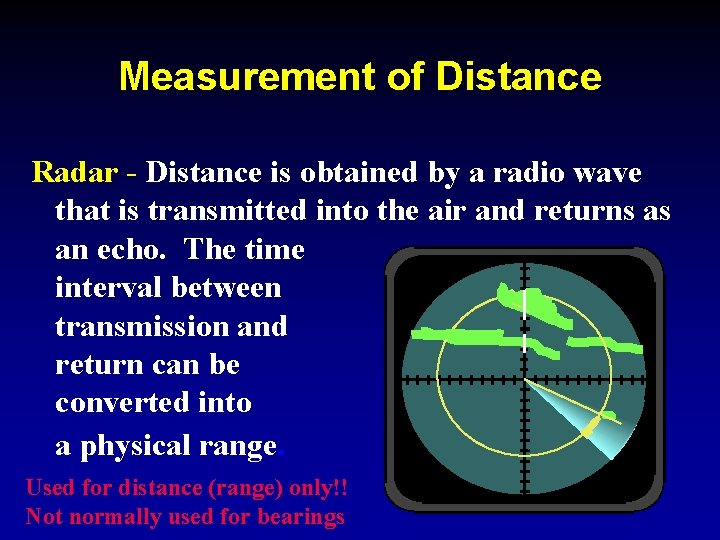 Measurement of Distance Radar - Distance is obtained by a radio wave that is