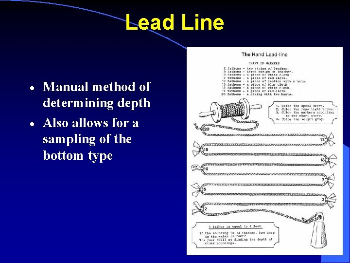 Lead Line · · Manual method of determining depth Also allows for a sampling