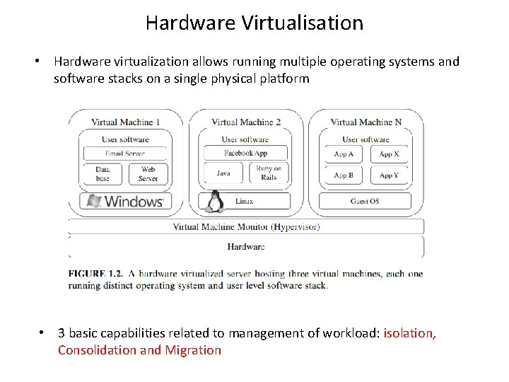 Hardware Virtualisation • Hardware virtualization allows running multiple operating systems and software stacks on