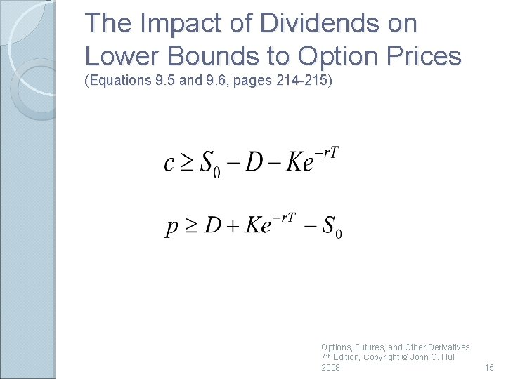 The Impact of Dividends on Lower Bounds to Option Prices (Equations 9. 5 and