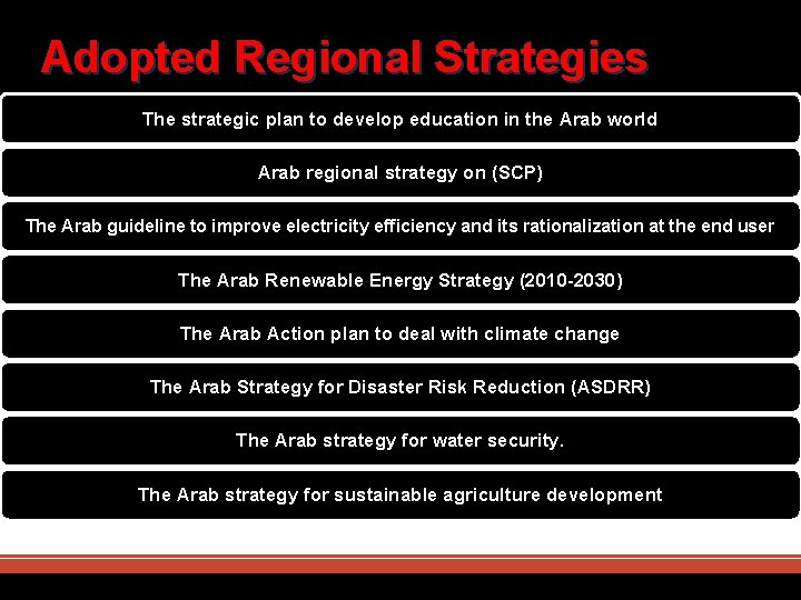 Adopted Regional Strategies The strategic plan to develop education in the Arab world Arab