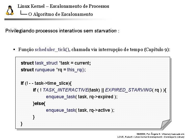 Linux Kernel – Escalonamento de Processos O Algoritmo de Escalonamento Privilegiando processos interativos sem