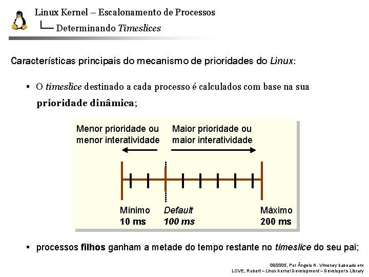 Linux Kernel – Escalonamento de Processos Determinando Timeslices Características principais do mecanismo de prioridades